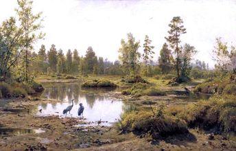 Marsh in Polessie by Ivan Ivanovich Shishkin - Hand Painted Oil Painting