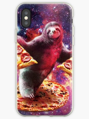 9ab6d944d 'Funny Space Sloth With Pizza' iPhone Case by SkylerJHill. '