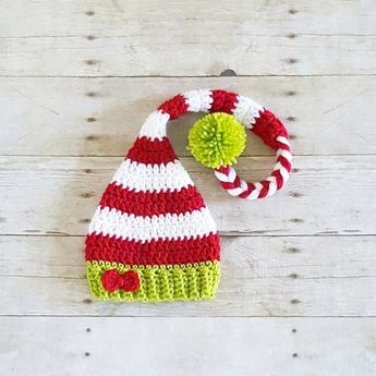 Crochet Baby Christmas Striped Bow Elf Hat Beanie Holiday Hat Newborn Baby  Infant Toddler Child Adult df6da52d4374