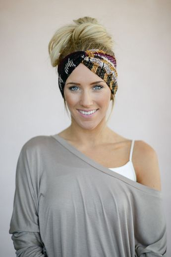 Printed Twist Headband Women's Head Wrap Fabric by ThreeBirdNest