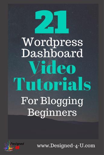 Wordpress For Beginners Dashboard Video Tutorials