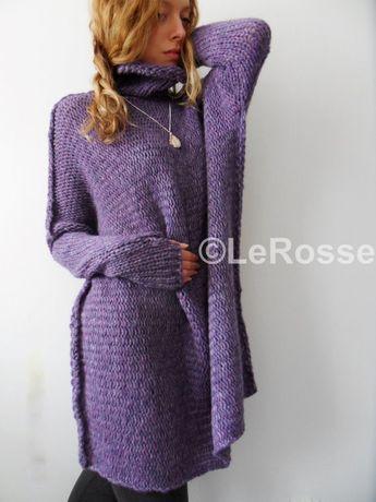 Oversized Chunky knit woman sweater. Turtleneck sweater