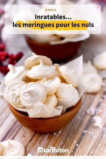 Meringues pour les nuls. Comme son nom l'indique, cette recette va vous permettre de réussir des meringues même si vous avez deux mains gauches #meringues #recette #marmiton #recettemarmiton #cuisine #RecetteRapidePate