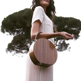 Walnut Wood & Chocolate Calf leather Bumi Mini 22cm Top Handle Bag by BU Wood | Moda Operandi Image Via @buwood