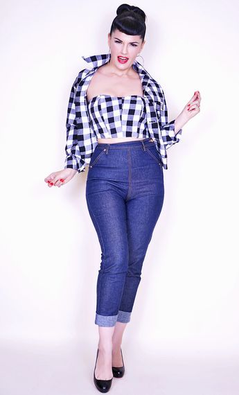 Skinny Dungaree High waist Blue Jeans