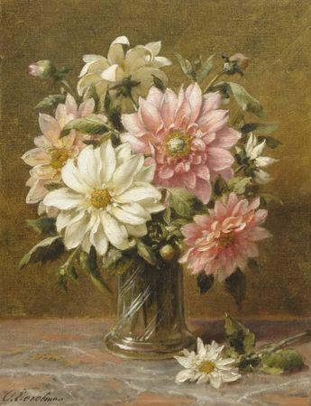 Otto Eerelman (Groningen 1839-1926) Dahlia's - Kunsthandel Simonis en Buunk, Ede (Nederland).