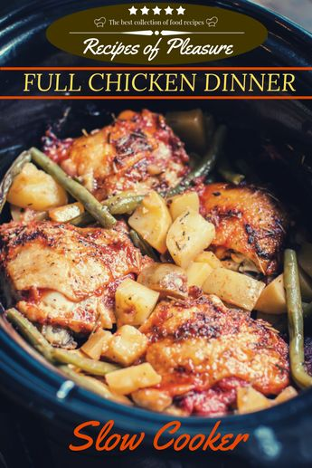 4 bone-in chicken thighs cooking oil 1.5 lbs Yukon gold potatoes, diced 1 pound green beans, ends snipped 2 garlic cloves, minced 1 (8-oz) can tomato sauce (not paste) 1½ tsp. salt ¼ tsp. pepper ½ tsp. dried thyme ½ tsp. dried rosemary Slow Cooker Size: 6-quart or larger