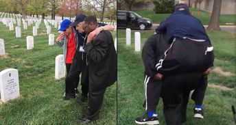 When a WWII Veteran Couldn't Walk to His Wife's Grave, Two Men Carried Him There