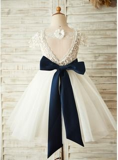 JJsHouse A-Line/Princess Knee-length Flower Girl Dress - Tulle/Lace Short Sleeves Scoop Neck With Sa