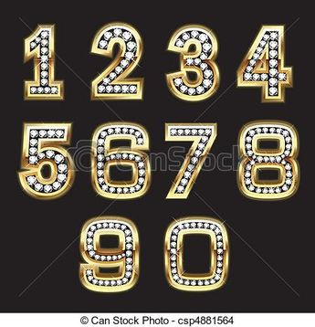 Vector - Set bling numbers - stock illustration, royalty free illustrations, stock clip art icon, stock clipart icons, logo, line art, EPS picture, pictures, graphic, graphics, drawing, drawings, vector image, artwork, EPS vector art