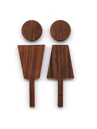 Love this toilet sign. Very elegant and classy....  Walnut Wood Male & Female Toilet Sign by Hacoa