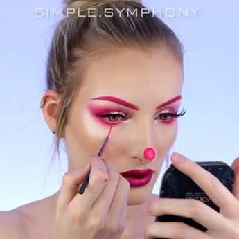 Fancy some bright neon makeup? This lovely Halloween idea can  be easily created by beginner artists as well as pro artists. @simple.symphony Would you have your eyebrows pink got one day? #neonpink #halloweenmakeup #makeupideas #eleganziatoyou