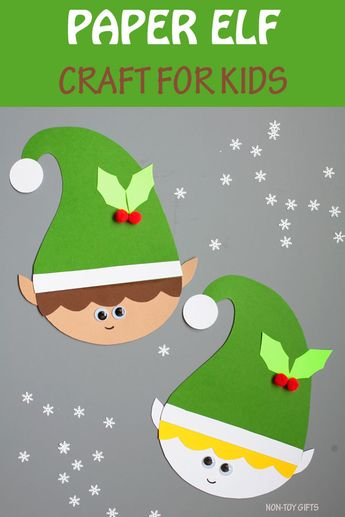 Paper Elf Craft For Kids - Easy Christmas Craft With Template