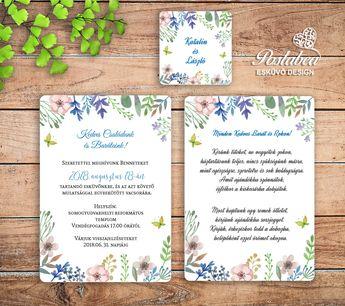 df6b8443b7 Pasztell vadvirágos esküvői meghívó | Pastel wildflower wedding invitation