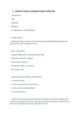 23 Contoh Surat Lamaran Bank Mandiri Taspen Kumpulan Contoh Gambar