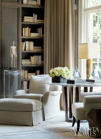 Atlanta Homes and Lifestyles Magazine #interiors #design #beautifulinteriors #neutrals #classicdesign #traditionalstyle #interiordesign #livingroom #style #antiques #stylingbookcases