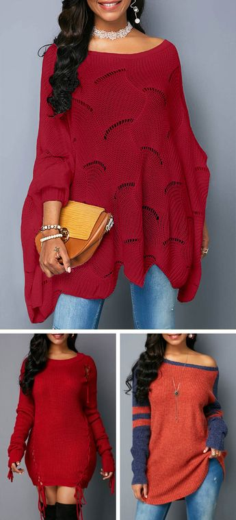 Asymmetric Hem Wine Red Open Knit Chic Sweater