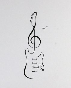 Tattoo Flash - Stratocaster Guitar by AprilsInk