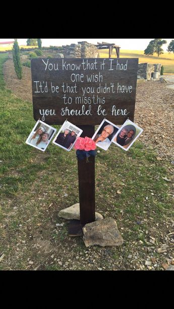 """In memory sign for outdoor wedding. Painted Lyrics from the song """"You Should Be Here."""" Added hooks to hang pictures of loved ones. #WeddingPlanningList #CountryWeddings #outdoorWedding"""