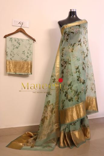 9214ede25d Pure Silk Organza Floral Sarees with Real Kanjipuram borders and draped on  a Pure chic Satin