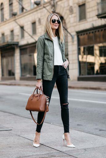 b8921eee8bb2 Blonde Woman Wearing Madewell Fleet Jacket Green Jacket White Tank Madewell  Black Ripped Skinny Jeans Christian