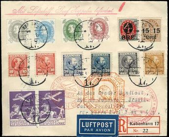 Denmark 9. South America Flight: wonderful decorative Zeppelin cover, franked by 14 Denmark stamps the 30er years, from 'Copenhagen 13. 10. 32' over Berlin zentral airport and Friedrichshafen with the Count Zeppelin to Rio de Janeiro. On face. And reverse with all Bestätigungsstempeln., a decorative document in best condition, a connoisseur´s piece.  Dealer Veuskens Auctions  Auction Minimum Bid: 150.00EUR