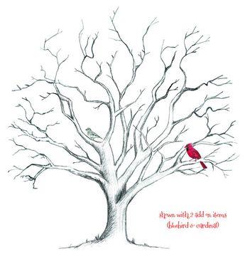 ADD-ON Pet - Dog, Cat, Deer, bird, owl or animal for Hand-Drawn Fingerprint Tree Guestbook