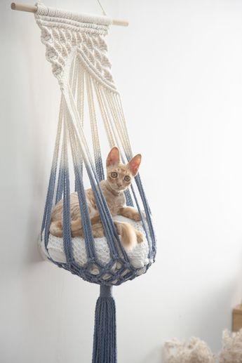 Macrame cat hammock Woven hanging cat bed Dip dye macrame cat swing Cat lover gifts Simple boho Crochet rope large pet furnitures supplies