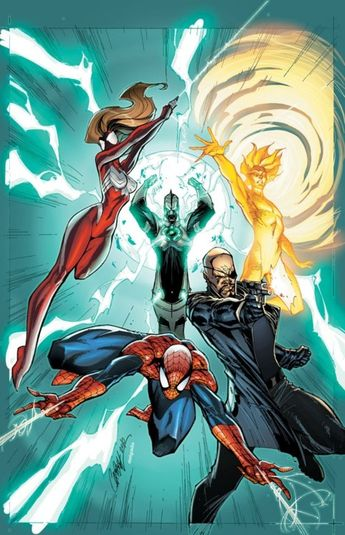 Spiderman, Spider-Girl, Nick Fury, Captain Mar-vell & The Human Torch. Updated version of the Torch.