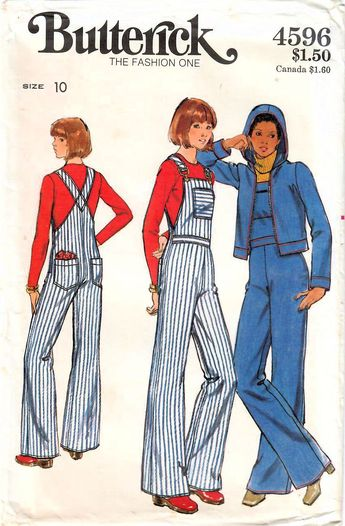 2025fd297a61e 1970s Butterick 4596 Vintage Sewing Pattern Misses Bib Overalls, Long  Overalls, Hooded Jacket,
