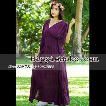 5d0b9fc2d5f No.013 - Size XS-7X Hippie Boho Caftan Purple Maxi Dresses Women's Plus