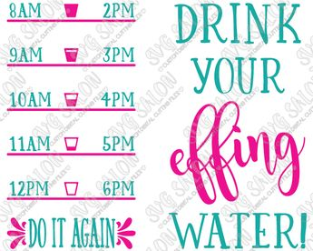 d30b592684 Drink Your Effing Water Fitness Quote Custom DIY Motivational Water Bottle  Vinyl Decal Cutting File Set