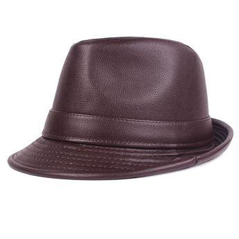 b6340548e7b06 Men Winter Vintage PU Leather Curved Brim Jazz Cap British Style Warm  Fedora Top Hat