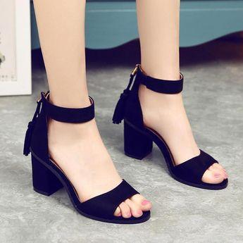 Chunky Heel Peep-toe Tassels Suede Ankle Strap Sandals