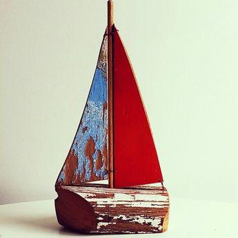 Coastal vintage boat made from old mast off old boat