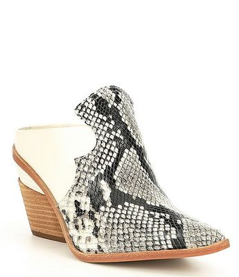 Gianni Bini Macnelle Snake Print Pieced Leather Western Mules