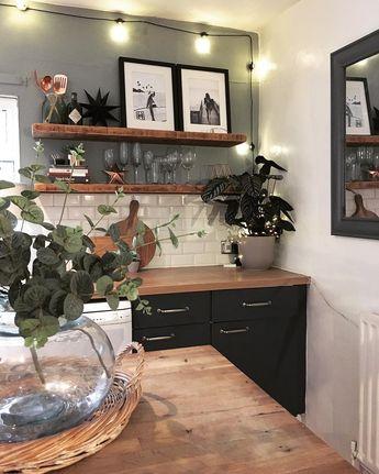 "J E N ▪️ L A M B E R T on Instagram: ""My favourite corner 🖤 swipe to see the before pic! #homerenovation #kitchentransformation #rusticinterior #shelfie #homedesign #styleitdark…"""