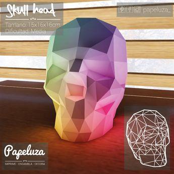 Skull Head - calavera - Plantilla - Diy papercraft de PAPELUZA en Etsy