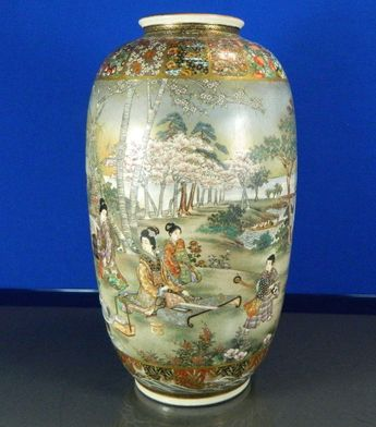 Satsuma Vase, Meji-period- The vase is richly decorated with countryside scenes of Japan.
