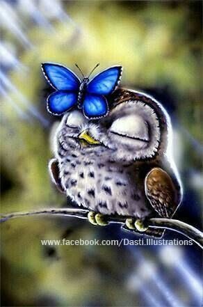 "Cute Purple and Brown Owl and Blue Butterfly.  ""Owls"""