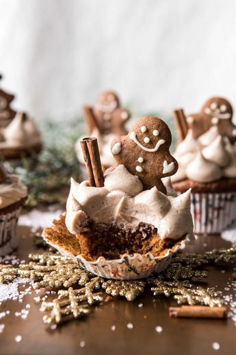 Gingerbread Cupcakes with Cinnamon Browned Butter Buttercream
