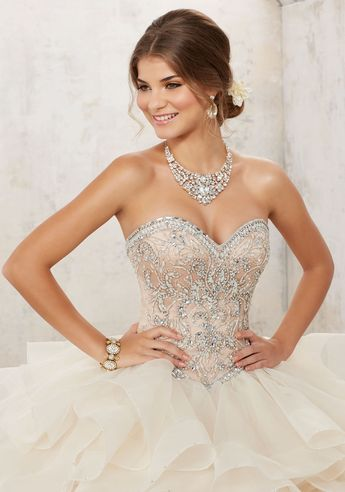 ef9ee438f7 Strapless Ruffled Quinceanera Dress by Mori Lee Vizcaya 891