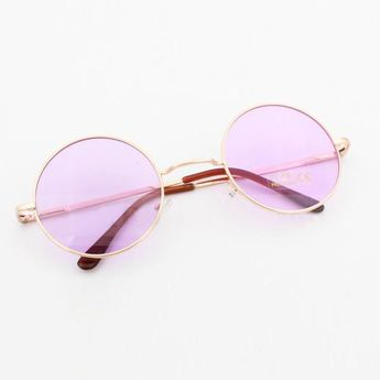 de10640e8d23d John Lennon Round Sunglasses In 3 Pastel Colors Pink Blue Or Purple Hippie  Shades With Gold