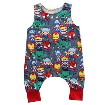 Cute Newborn Baby Boy Girl Superman Clothes Sleeveless Cartoon Romper Jumpsuit Outfitdresskily