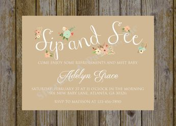 editable sip and see invitation watercolor flowers pdf prin