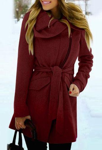 Trendy Turn-Down Collar Long Sleeve Zip Up Spliced Belted Coat For Women