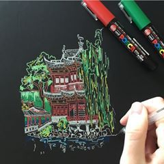 Loved using @poscaoficial pens for this drawing of the Yu Garden in Shanghai ⛩
