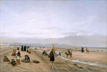 On The Sands At Rhyl , North Wales - by Hopkins Horsley Hobday Horsley, 1856 .