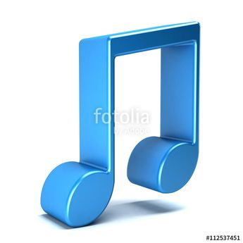 Musical Noteisolated in white background. 3D rendering illustration