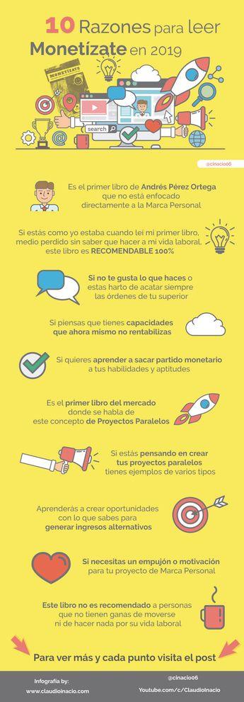 10 razones para leer el libro Monetízate de Andrés Pérez Ortega #infografia #empleo #marcapersonal